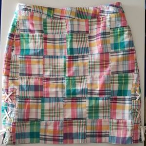 Talbots Madras Pastel Plaid Skirt